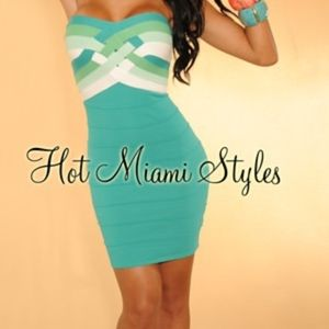 Teal Tri-Color Woven Front Strapless Bandage Dress